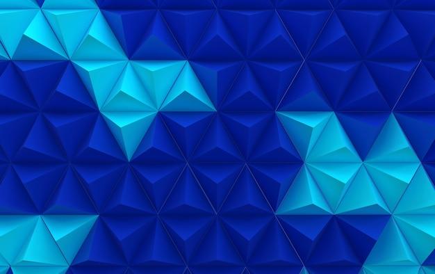 Hintergrund mit blauen und tiefblauen dreieckigen pyramiden, 3d rendern