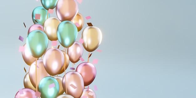 Hintergrund mit bunten luftballons und bändern für den besonderen tag hintergrund 3d-illustration