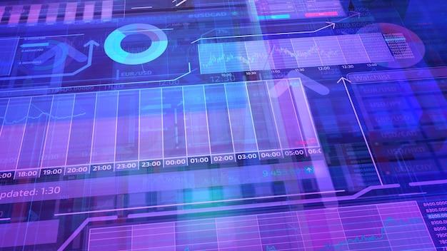 Hintergrund mit einer reihe von abstrakten bestandsdaten im 3d-raum.