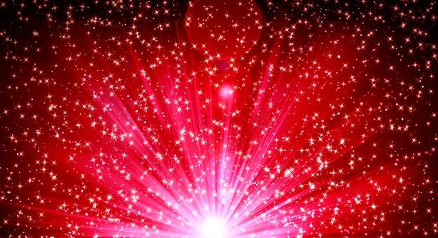 Hintergrund mit leuchtend hellen strahlenblitzen und glitzer von konfetti