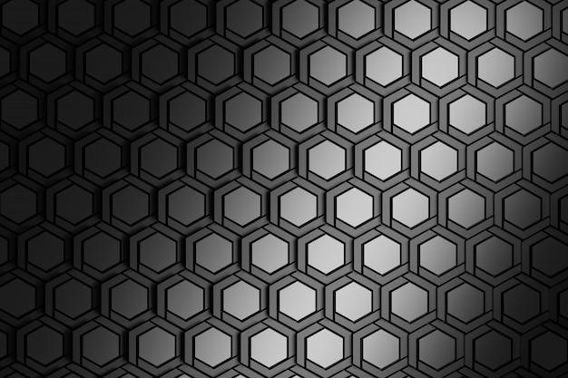 Hintergrund mit metallischen strukturierten wiederholenden hexagonen.