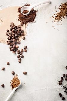 Hintergrund mit sortiertem kaffee