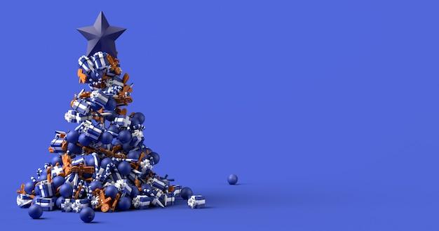 Hintergrund mit weihnachtsbaum mit kugeln lebkuchenmänner zuckerstangen und geschenke