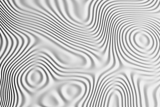 Hintergrund mit wellenmuster auf der oberfläche. flüssige fließende linien in schwarzweiss.