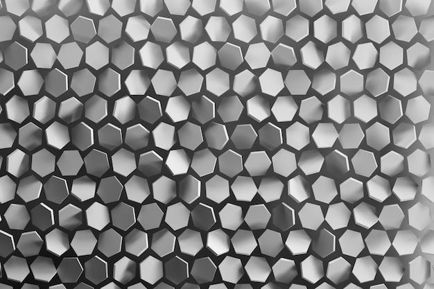 Hintergrund mit zufällig angeordneten sechseckigen formen in grauer farbe.