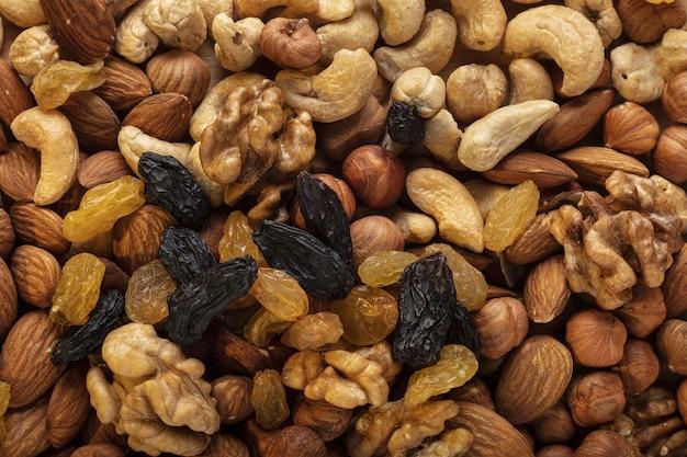 Hintergrund verschiedener nüsse. draufsicht.