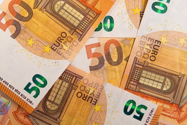 Hintergrund von 50 euro-banknoten, euro-banknote als teil des wirtschafts- und handelssystems, nahaufnahme