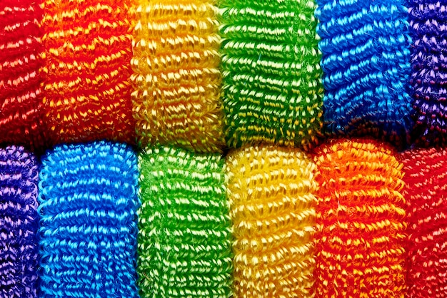 Hintergrund von der hellen mehrfarbigen weichen bandnahaufnahme.