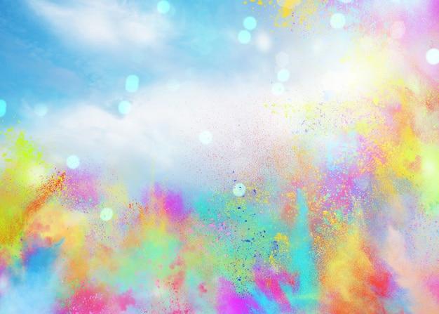 Hintergrund von explosionsfarbenen pulvern und glitzern für frühlings-holi-farbparty