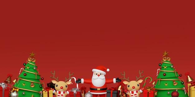 Hintergrund von weihnachtsmann und rentier mit weihnachtsgeschenken