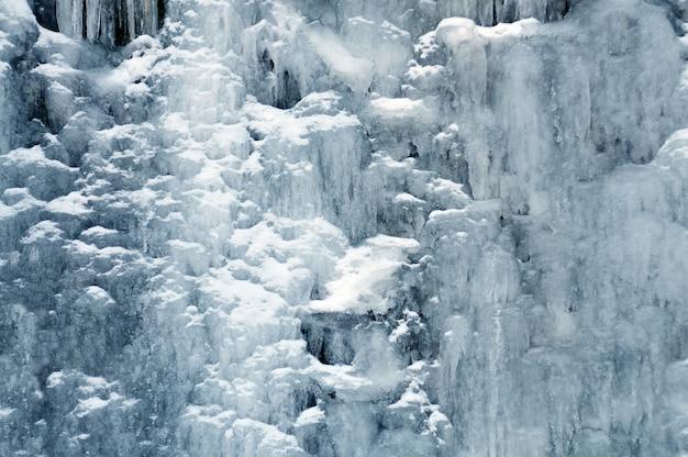 Hintergrundgebirgswasserfall zwischen eis und schnee