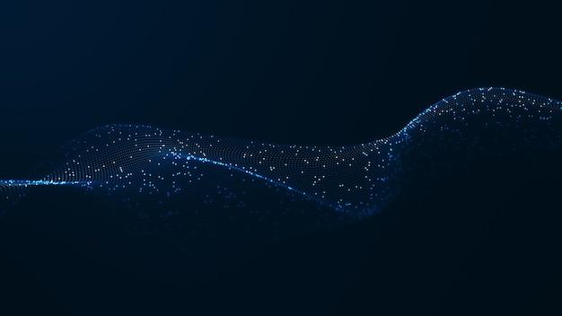 Hintergrundkonzept der digitalen welle der technologie. schöne bewegungswellenartige punkttextur mit leuchtenden defokussierten partikeln. cyber- oder technologiehintergrund.