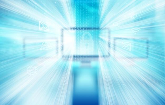 Hintergrundmonitor für digitale datentechnologie mit binärcodes und internetsymbolen