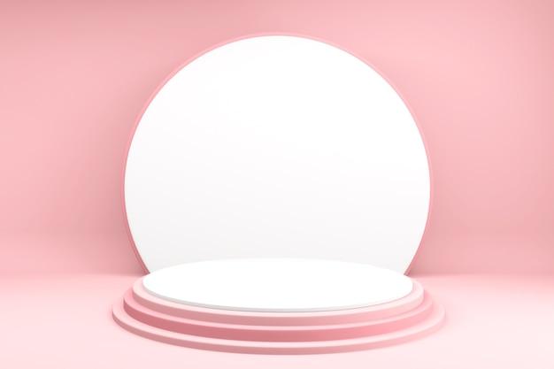 Hintergrundprodukte valentinspodest in liebesplattform, valentinstag rosa podium minimales design .3d rendering