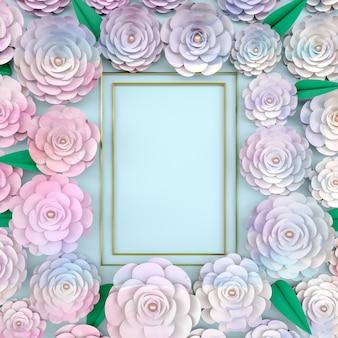 Hintergrundrahmen mit blühender rosenblume.