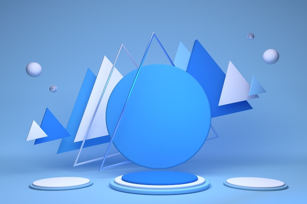 Hintergrundtextur des blauen podiums 3d in den pastellfarben abstrakte geometrische formen mit dreiecks- und kugel-3d-darstellung für minimale szene der kreativen idee