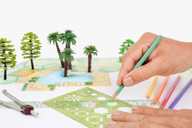 Hinterhofplan des landschaftsarchitektenentwurfs für villa
