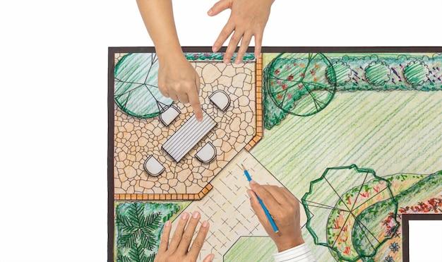 Hinterhofplan des landschaftsarchitektenentwurfs