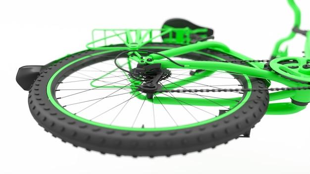 Hinterrad einer grünen fahrradnahaufnahme, 3d illustration