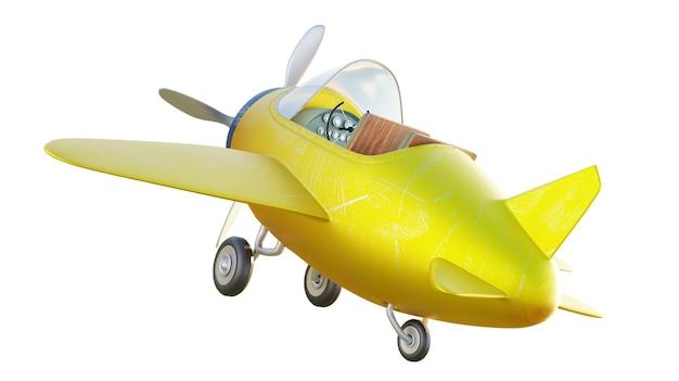 Hinterwinkelansicht des niedlichen gelben und blauen zweisitzigen retro-flugzeugs lokalisiert auf weißem hintergrund. 3d-rendering .