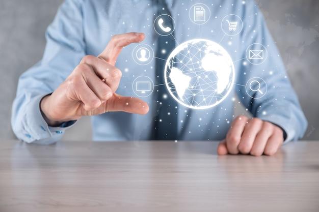 Hiold, verwendung, presse-infografik-symbol der community-technologie digital.konzept von high-tech und big data.