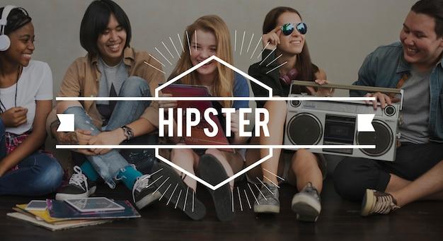 Hippie-weinlese-vektor-grafik-konzept