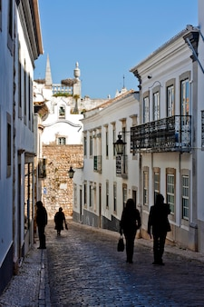 Historische straße mit touristen