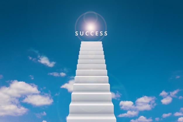 Hoch von der treppe und vom erfolg auf spitzenhimmelhintergrund-wettbewerbskonzept.