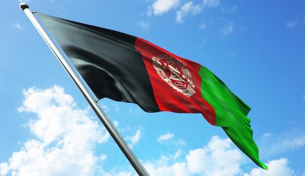 Hochauflösende 3d-rendering-darstellung der afghanistan-flagge mit blauem himmelshintergrund