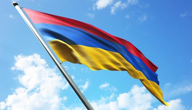 Hochauflösende 3d-rendering-darstellung der armenien-flagge mit blauem himmelshintergrund