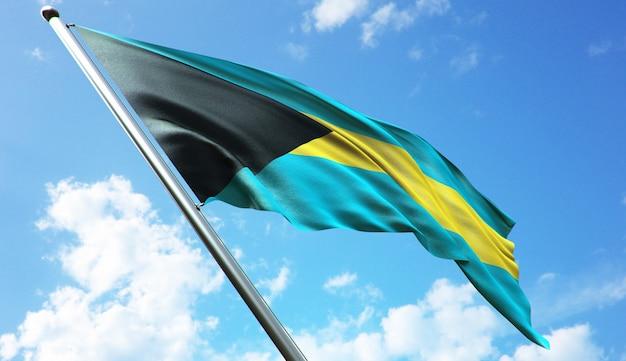 Hochauflösende 3d-rendering-darstellung der bahama-flagge mit blauem himmelshintergrund