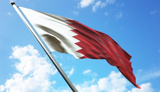 Hochauflösende 3d-rendering-darstellung der bahrain-flagge mit blauem himmelshintergrund