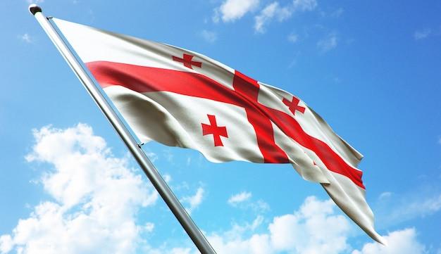 Hochauflösende 3d-rendering-darstellung der georgia-flagge mit blauem himmelshintergrund