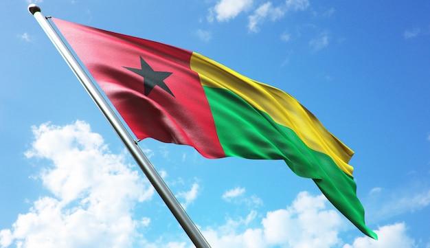 Hochauflösende 3d-rendering-darstellung der guinea-bissau-flagge mit blauem himmelshintergrund