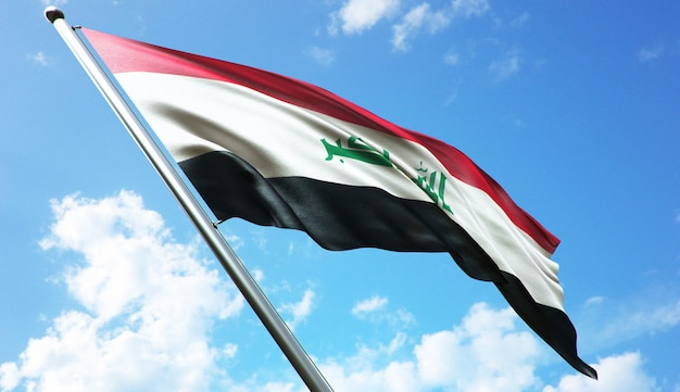 Hochauflösende 3d-rendering-darstellung der irak-flagge mit blauem himmelshintergrund