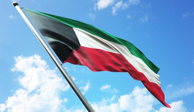 Hochauflösende 3d-rendering-darstellung der kuwait-flagge mit blauem himmelshintergrund