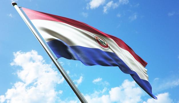 Hochauflösende 3d-rendering-darstellung der paragua-flagge mit blauem himmelshintergrund