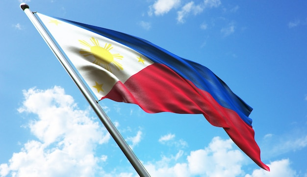 Hochauflösende 3d-rendering-darstellung der philippinischen flagge mit blauem himmelshintergrund