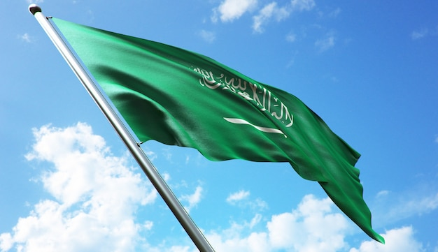 Hochauflösende 3d-rendering-darstellung der saudi-arabien-flagge mit blauem himmelshintergrund