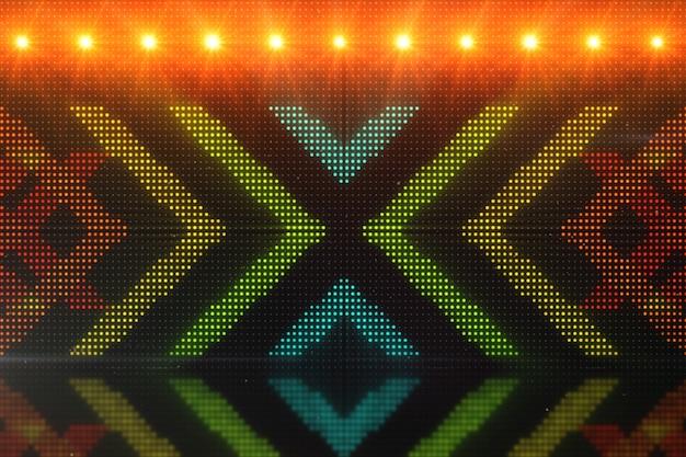 Hochauflösende cgi-bewegungshintergründe, ideal für die bearbeitung, led-hintergründe oder rundfunkfunktionen mit leuchtenden pfeilen über einer simulierten 3d-illustration des led-panels
