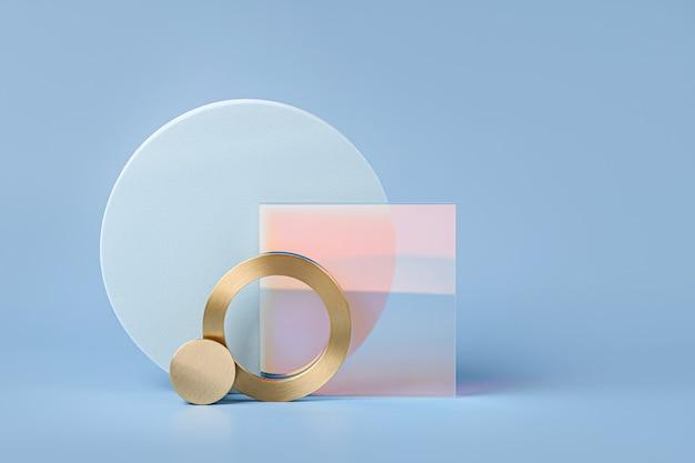 Hochglanz-acrylplatte mit runden geometrischen formen und goldenen elementen auf blauem hintergrund. stilvoller hintergrund