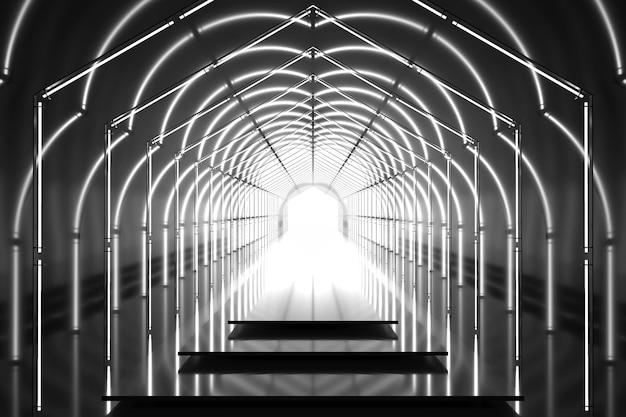 Hochglanzpodest des dunklen sechseckigen tunnels 3d. abstrakter hintergrund. lichtreflexionsstufe. geometrische neonlichter.