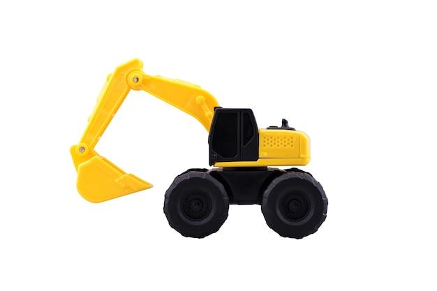 Hochleistungsbau-löffelbaggerspielzeug lokalisiert mit beschneidungspfad auf weißem hintergrund.