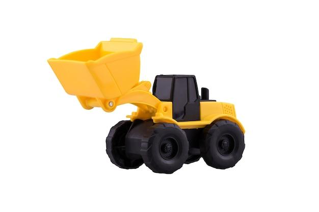 Hochleistungsbau traktorspielzeug lokalisiert mit beschneidungspfad auf weißem hintergrund.