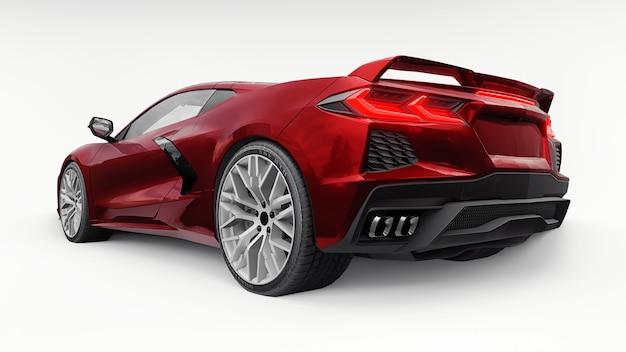 Hochmoderner roter supersportwagen mit mittelmotor-layout auf weißem grund. 3d-darstellung.