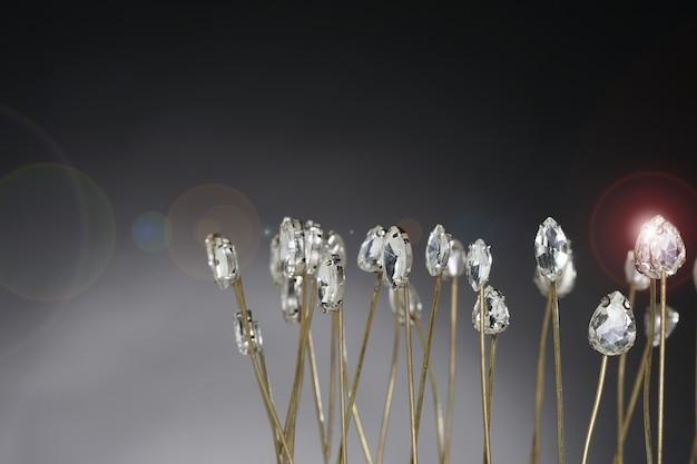 Hochwertiges edelsteinzubehör krone, gold, diamant, messing als blumenfeld