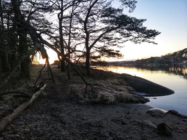 Hochwinkelaufnahme eines flusses während eines hypnotisierenden sonnenuntergangs in ostre halsen, norwegen