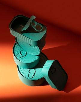 Hochwinkelstapel von blau konserviert