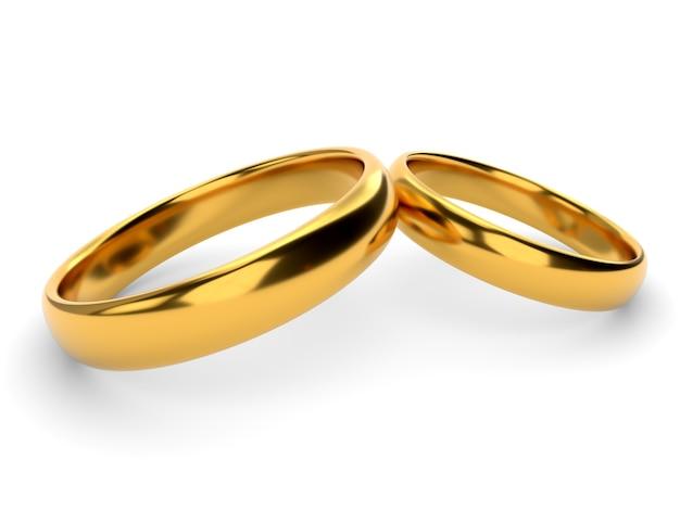 Hochzeit goldringe auf weiß isoliert