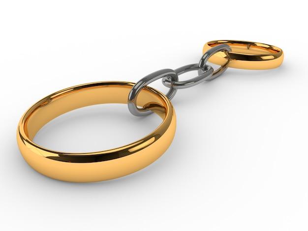 Hochzeit goldringe verbundene kette